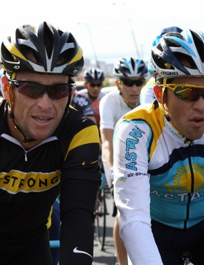 Astana teammates Lance Armstrong (L) and Alberto Contador were the news makers of the prop peloton in 2008.