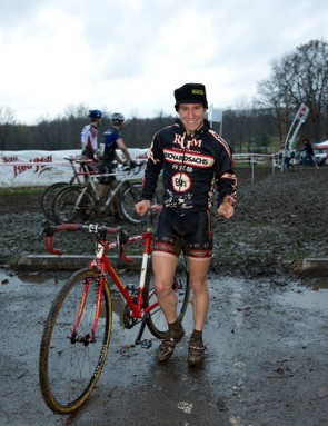 Richard Sachs racer Will Dugan is all muddy smiles after winning in Kansas City last weekend.