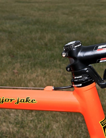 Trebon's custom frame uses the same scandium tubeset as production models but is stretched 1cm in length and height