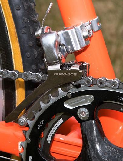 The Dura-Ace label adorns the derailleurs, chain and cassette