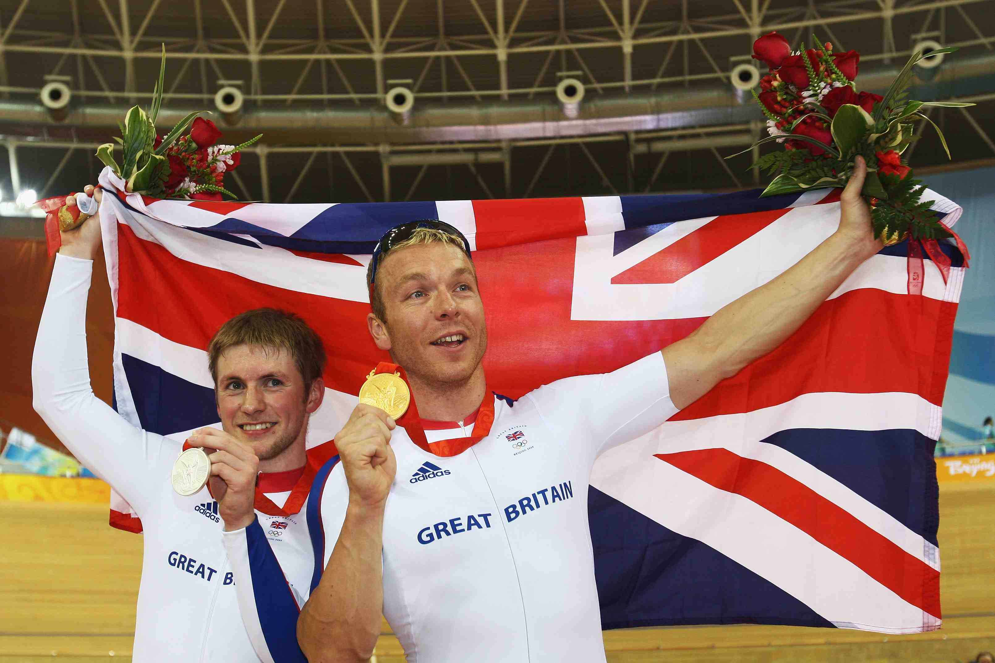 Gold medalist Chris Hoy (R) of Great Britain looks on with Silver medalist Jason Kenny (L) of Great Britain after the Men's Sprint Finals in the track cycling event at the Laoshan Velodrome on Day 11 of the Beijing 2008 Olympic Games on August 19, 2008 in Beijing, China.