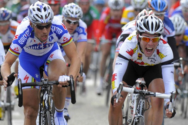 Britain's Mark Cavendish (R) of Team High Road reacts after he won the 207km Grand Prix de l'Escaut for the second successive year ahead of Belgian Tom Boonen (L) of QuickStep, in Schoten on April 16, 2008.