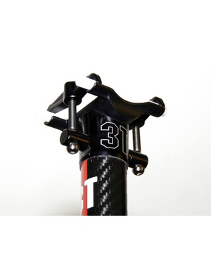 The 3T Doric Team carbon seatpost's long lower cradle offers excellent rail support but severely limits fore-aft adjustment
