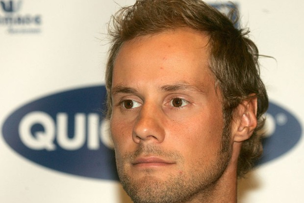 Tom Boonen attends a press conference at Quickstep Headquarters on June 11, 2008.in Wielsbeke, Belgium. Boonen gave a press conference after cocaine allegations.
