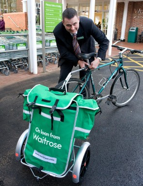 When a customer registers for the scheme at a shop's welcome desk, a special bracket will be attached beneath their bicycle saddle to enable them to clip the trailer onto their bike
