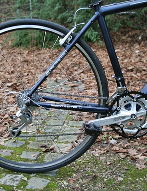 Shimano Deore takes care of gearing. V-brakes provide the stopping power