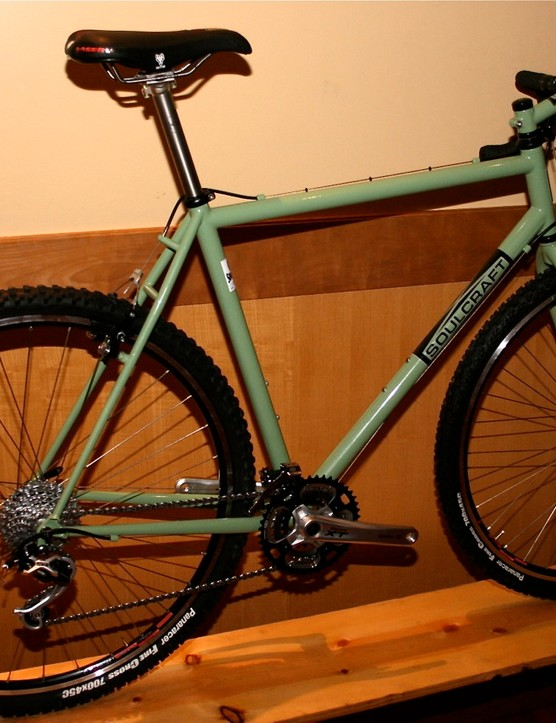 A Soulcraft MonsterCross on display at the NorCal High School Racing League dinner in Mill Valley, California.