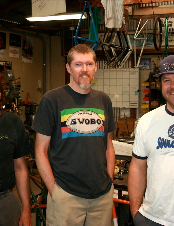 Salsa founder Ross Shafer (L), Black Mountain Cycles owner Mike Varley and Sean Walling.