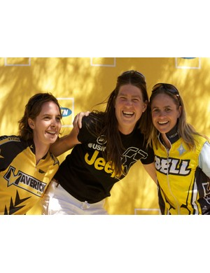 (From left) Julia Colvin (third), Sara Muhl (first) and Tania Raats, share a laugh after claiming the first three places in the women's race.