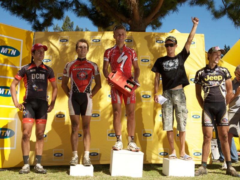 The first five men in the Pro-Elite category were (from left) Max Knox (fourth), Johnny Kritzinger (third), Burry Stander (first), Renay Goustra (second) and Craig Paul (fifth).