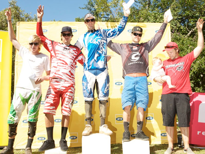 The top five men overall were (from left) Pierre van der Merwe (fifth), Jonty Neethling (third), Andrew Neethling (first), Johann Potgieter (second) and Gary Barnard (fourth)