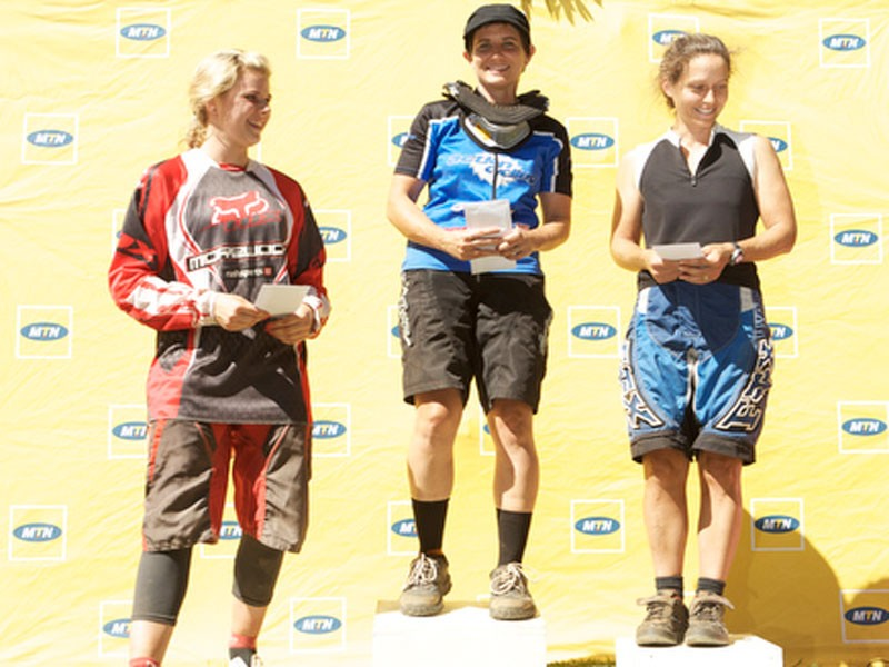 The top three women overall were (from left) Vicky Phillips (third), Rika Olivier (first) and Gina Nixon (second)