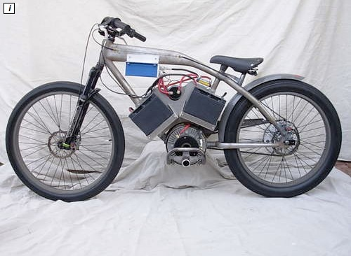 A 48V, 15 horsepower electric board track racer, formerly a beach cruiser.