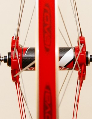 Extra-wide flange spacing on the front hub  is beneficial for lateral stiffness but it doesn't fit in some forks.