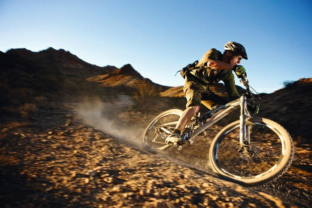 MBUK's Guy Kesteven rips it up on the Bootleg Canyon trail during the 2008 Outdoor Demo.