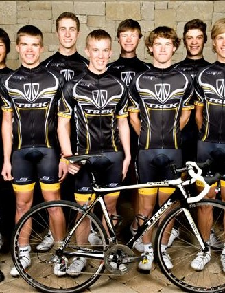 Axel Merckx (R) directs the Trek-LiveSTRONG U23 team.