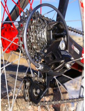 The cassette is carried over  and yields very good shifts though it still can't quite match Shimano for overall smoothness.