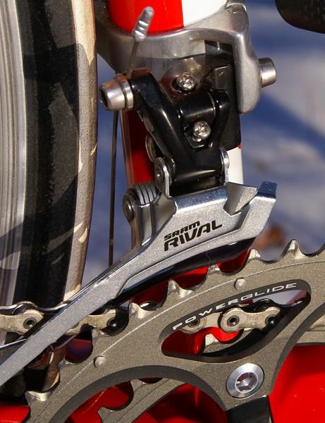 The front derailleur is a carryover unit as well  (again, save for the new finish) and actually delivers marginally better shift performance than Red thanks to the stiffer steel cage.
