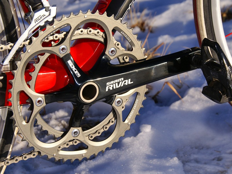 SRAM previously offered the hollow-forged Rival crankset as an optional upgrade  but it's now standard for the group.