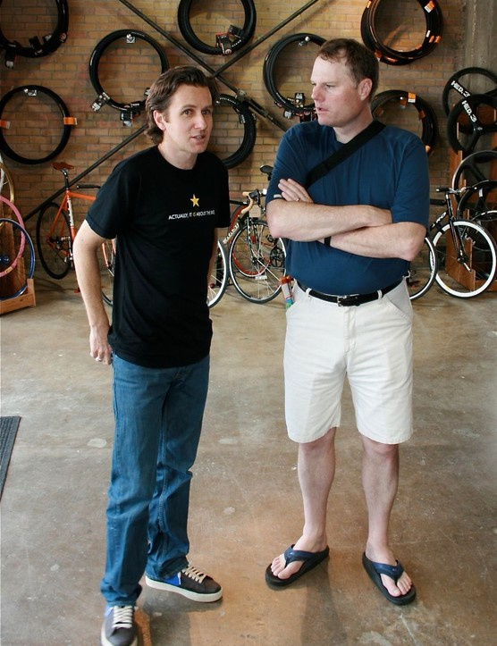 Mellow Johnny's general manager Craig Staley (L) chats with Trek president John Burke during the May 2008 grand opening.