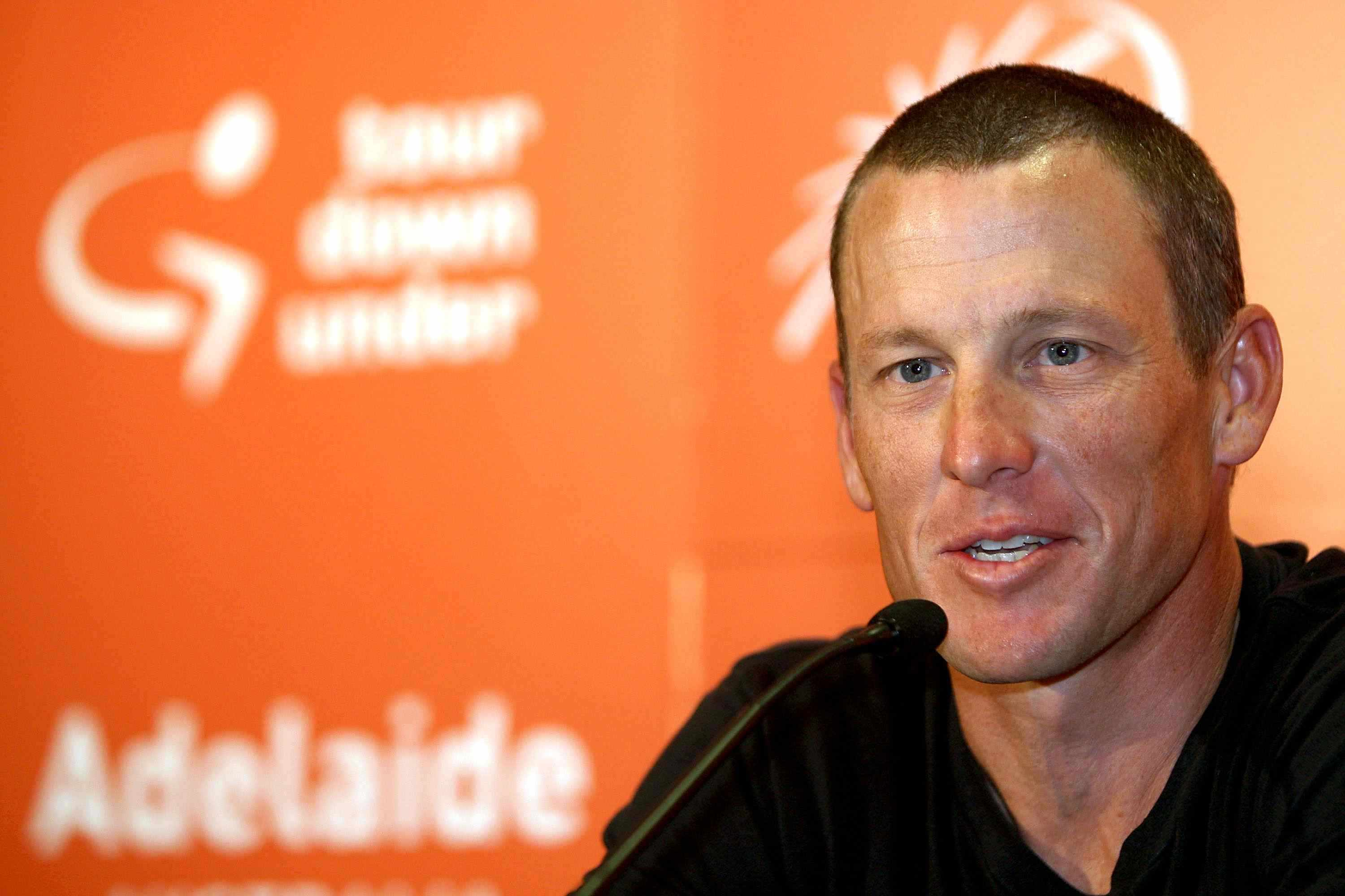 Lance Armstrong speaks to the media in Australia on January 17, 2009.