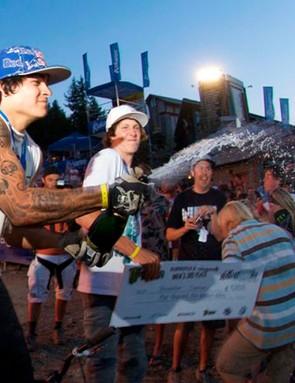 Andreu celebreates his victory at Crankworx 2008