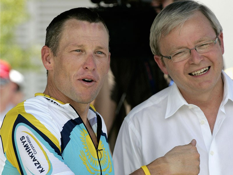 Lance Armstrong chats with Australian PM Kevin Ruud