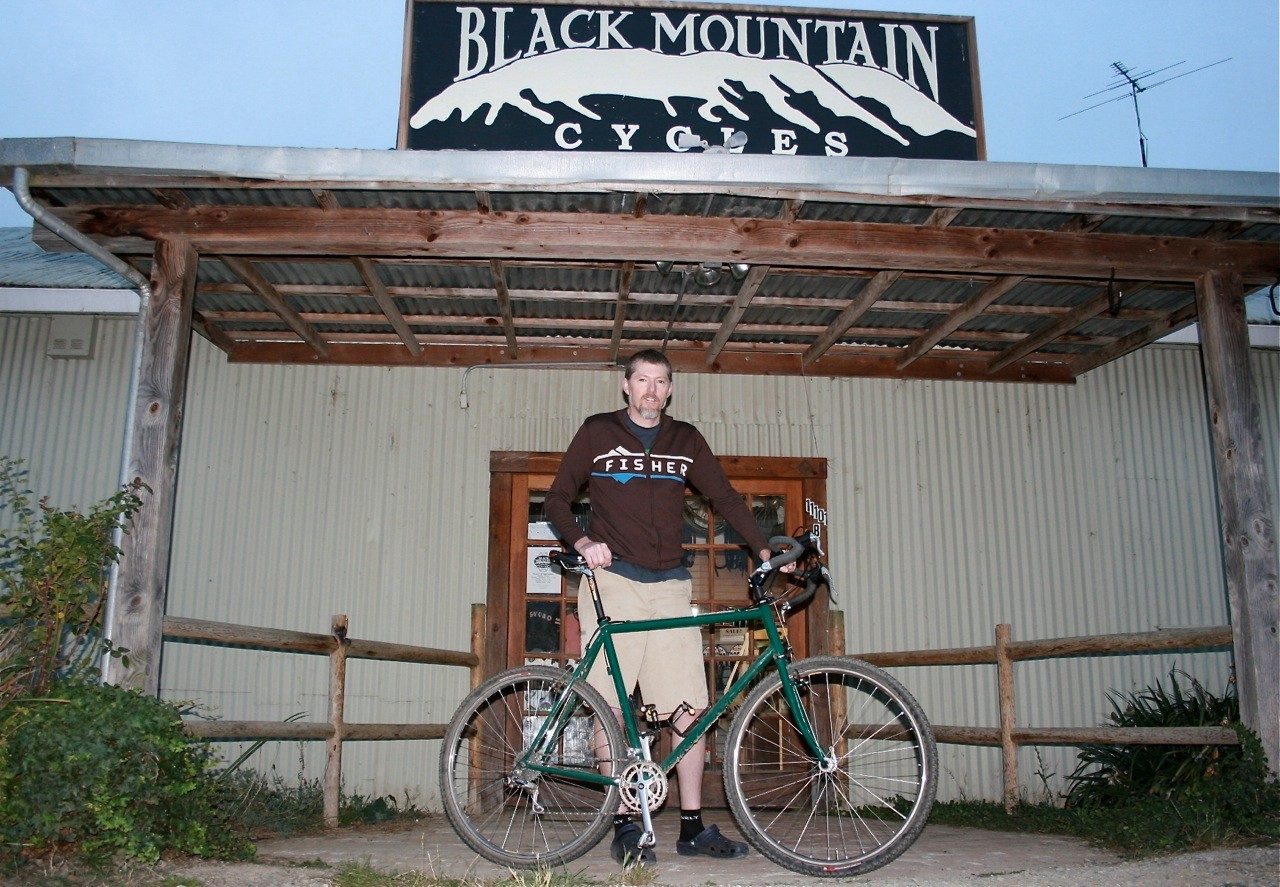 Mike Varley outside his Point Reyes, California bike shop.