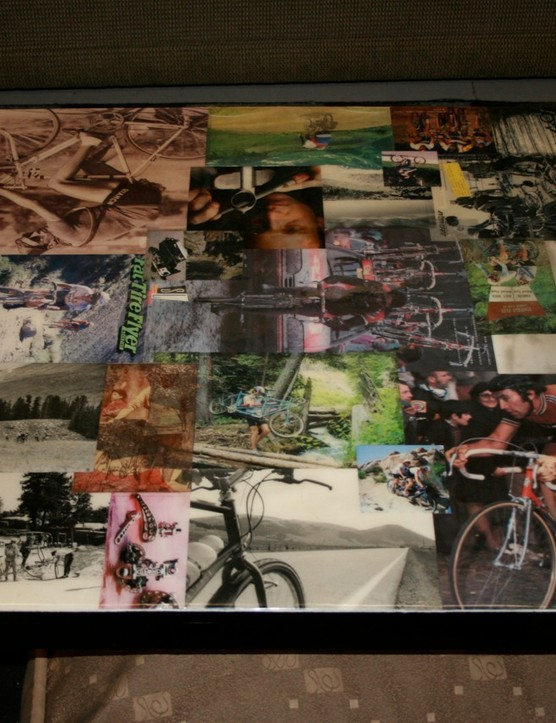The historic coffee table at Black Mountain Cycles...adorned with all the greats.