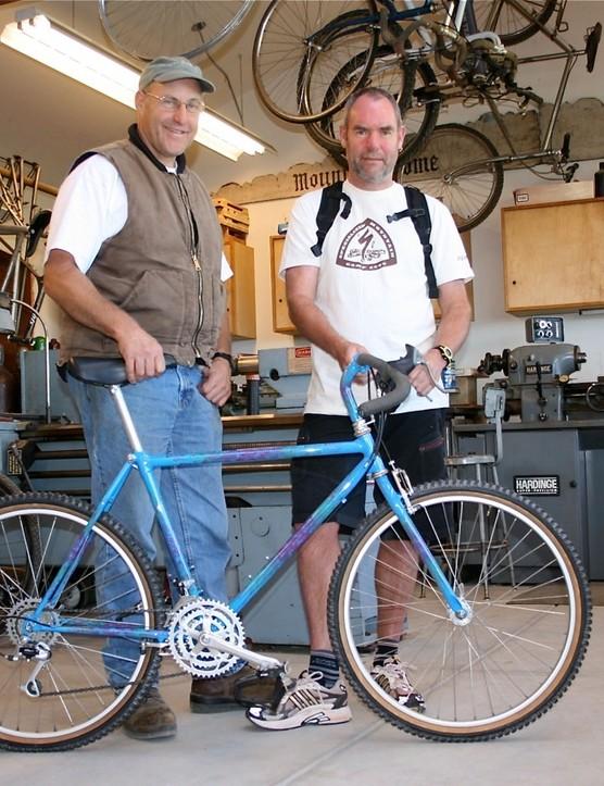 Local framebuilder and WTB founder Steve Potts (L) with What Mountain Bike's Steve Worland in Potts' workshop last summer.
