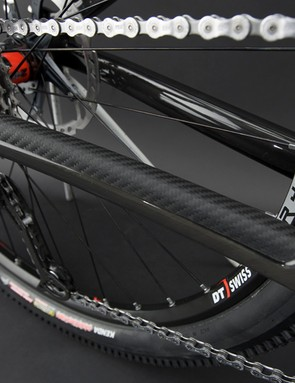 A recess is molded in for the carbon chain stay protector.