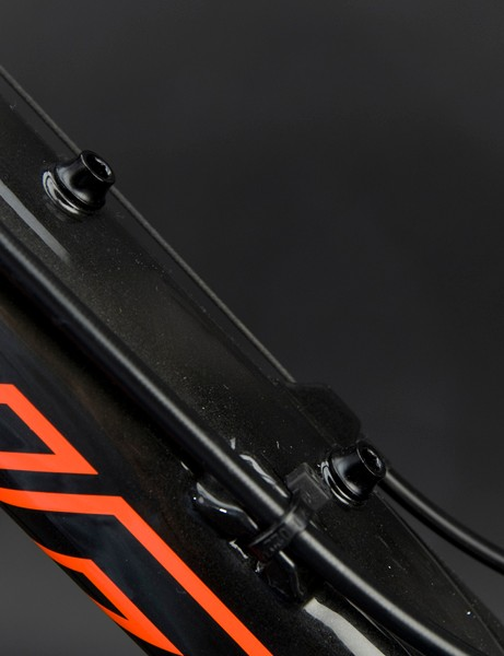 The down tube will sport two sets of bottom mounts: one up top and another down below.