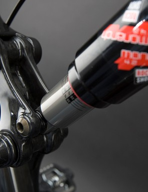 The second-generation VPP suspension system is shortened to just 105mm of rear wheel travel with firmer pedaling response and a more linear spring rate.