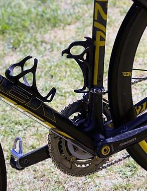 Armstrong has always used Dura Ace pedals and this doesn't change with the Madone 6.9 Livestrong.