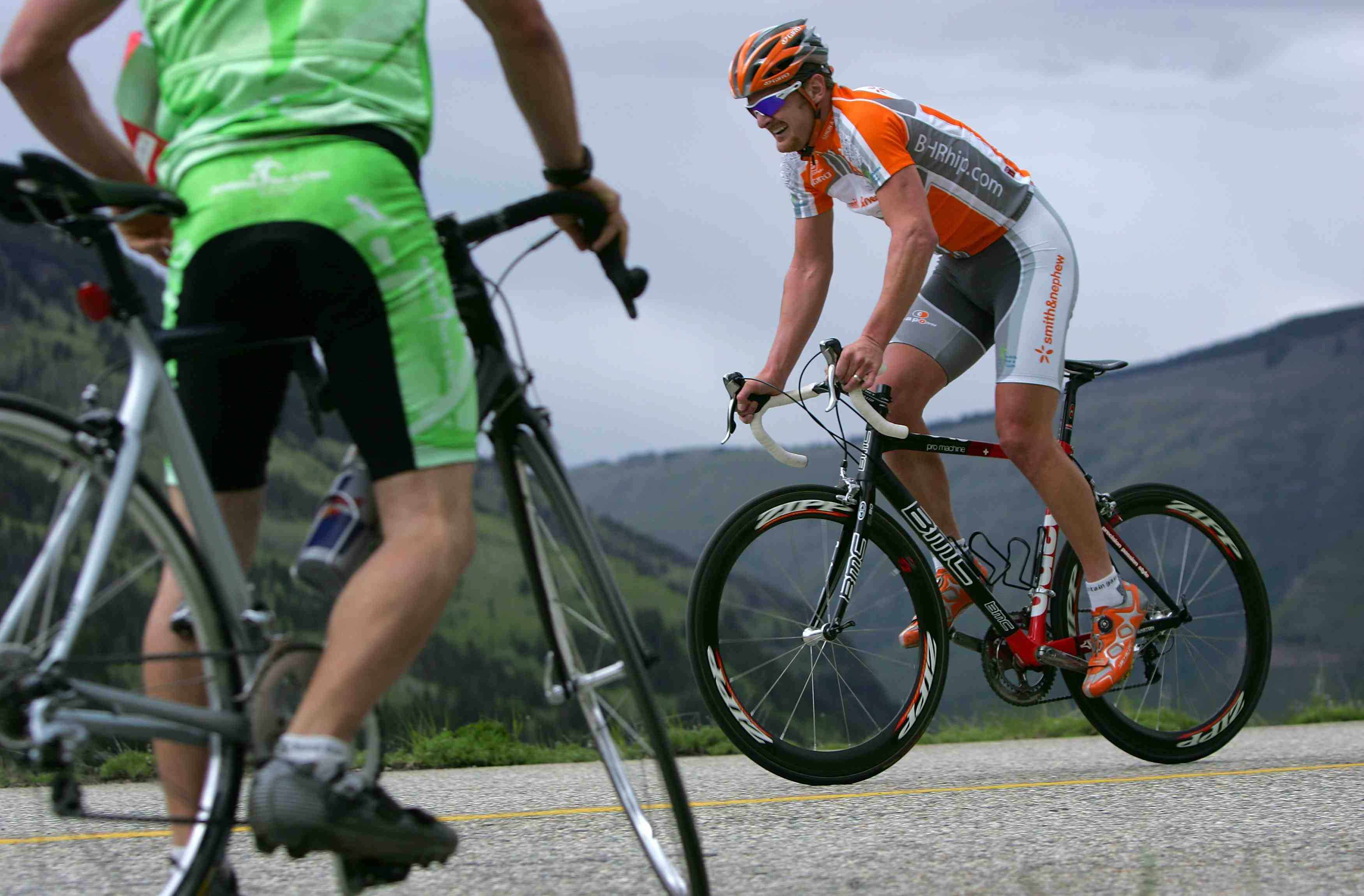 Floyd Landis climbs Vail Pass as he competes in the Trek Hill Climb during the Teva Mountain Games June 3, 2007 in Vail, Colorado.
