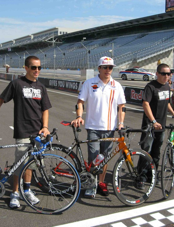 The Hayden brothers with their custom Specialized road bikes (L -R): Tommy, Nicky and Roger Lee.