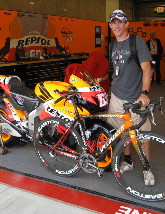 Specialized global PR manager Nic Sims with Nicky Hayden's Honda and custom painted S-Works Tarmac SL2.