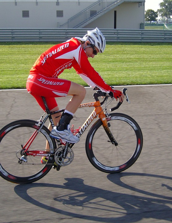 Nicky Hayden getting a quick spin on his custom painted S-Works Tarmac SL2 in Indiana last summer.