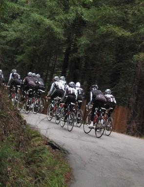 The BMC Racing Team climbing Fort Ross.
