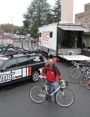 The BMC Racing Team camp equipment, with mechanic Rich Sangalli.