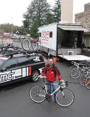The BMC Racing Team camp equipment, with mechanic Rich Sangalli.