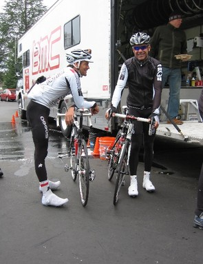 Swiss star Alex Moos (L) with team trainer Charlie Livermore.