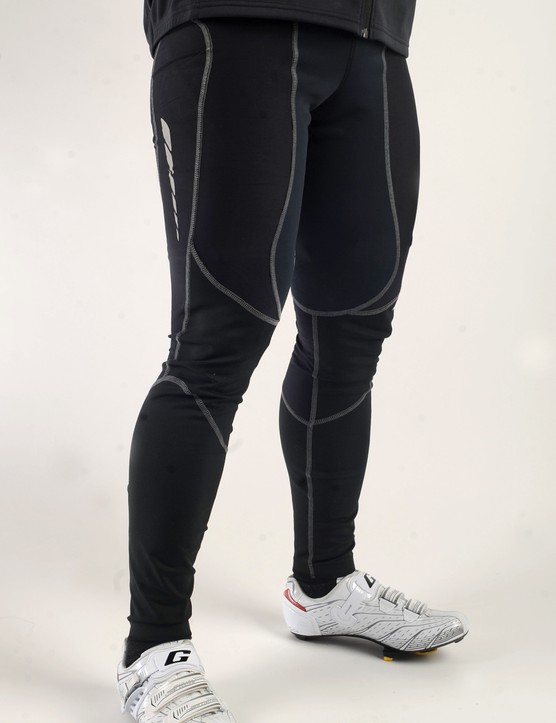 The tights offer a similarly robust barrier against the elements  with a variety of AmFIB fabrics and a partial-coverage DWR coating.