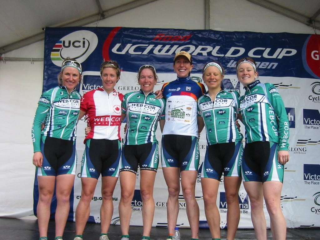 Katheryn Curi Mattis surrounded by her Webcor teammates in Australia.