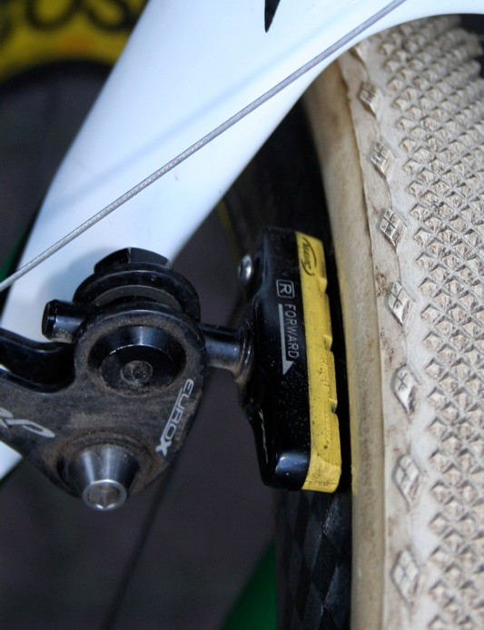 To stop the Mavic carbon rims, Nys uses the company's own carbon-specific pads made by SwissStop
