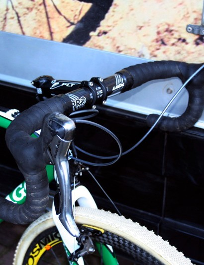 Nys's carbon Vibe bars have a traditional bend to which his tried and tested 7800 Dura-Ace levers are attached
