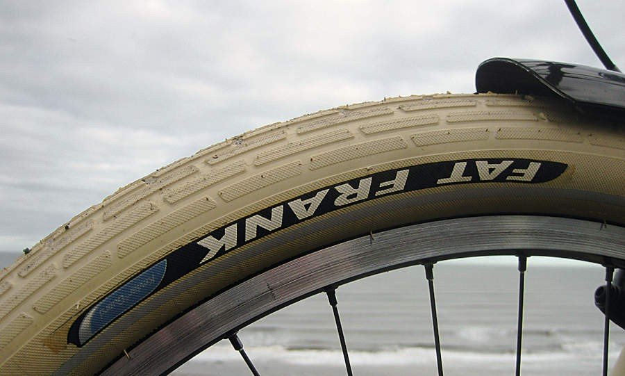 Schwalbe Fat Frank tyres are colour-coordinated with the beige frame.