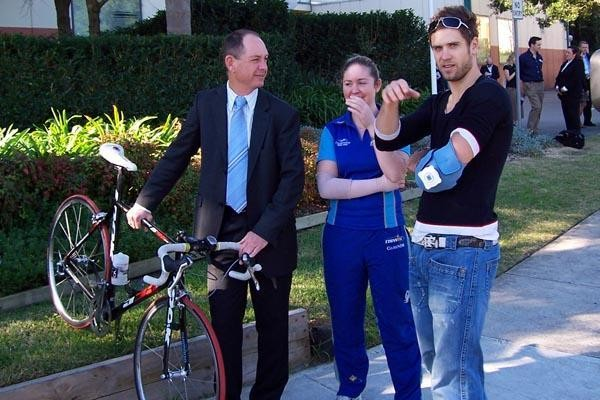 Kevin and Kate Nichols with top Australian rider Ben Kersten at a press conference the afternoon of the crash.