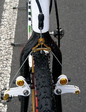 TRP EuroX Magnesium cantilever brakes provide extra rim clearance in muddy conditions and a bit of flash with their gold anodised aluminum hardware