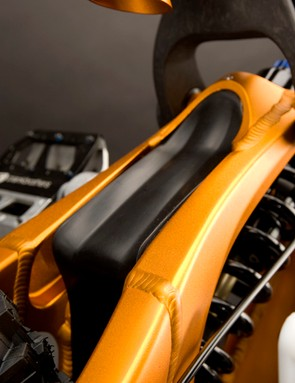 A handy fender protects the rear shock from trail debris.